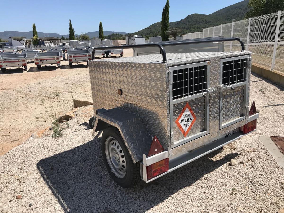 Remolque de 2 puertas perros aluminio 120x100x60